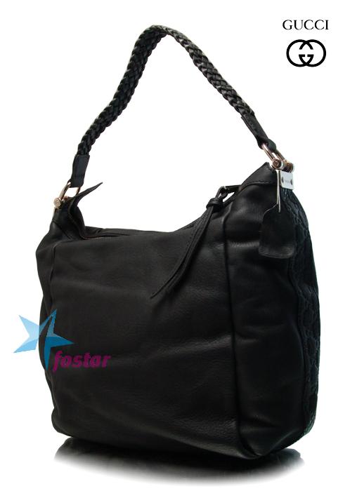 Женская кожаная сумка Gucci 257090BK большая черная сумка.