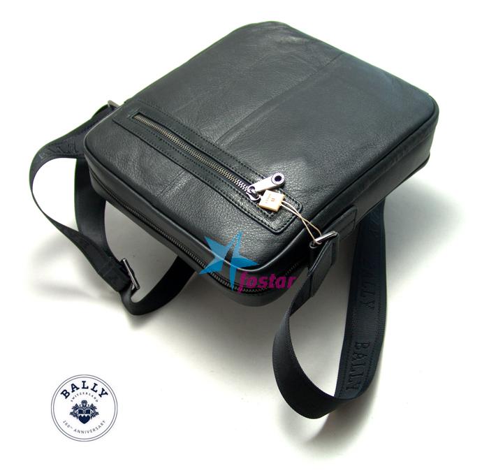 Мужская черная кожаная сумка Bally 998-2BK