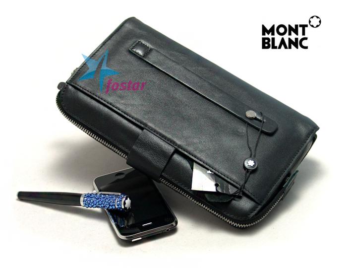 2005f1810a08 Черная стильная мужская барсетка Mont Blanc 3012-2 - fostar.ru