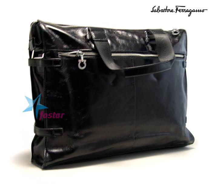 6c90a59ec0b5 Мужской лакированный портфель Salvatore Ferragamo 80063-4 черный ...