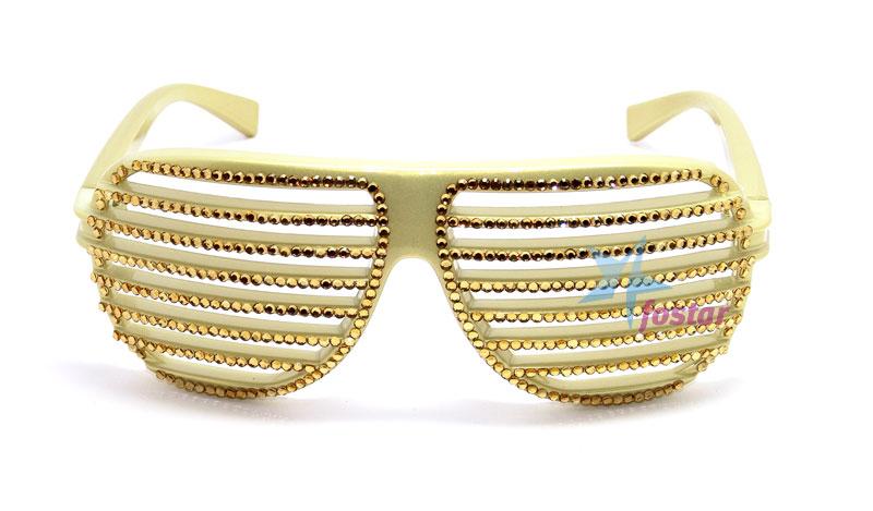 512bf6de52c5 Модные клубные очки жалюзи со стразами золотые очки - fostar.ru