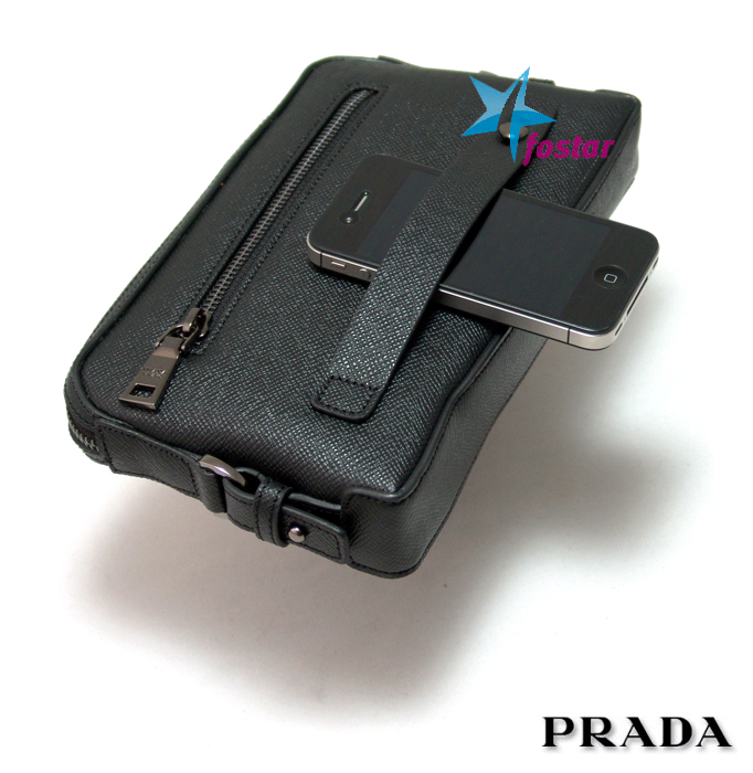 e7c26885a35c Черная мужская барсетка клатч Prada 8020-6BK - fostar.ru
